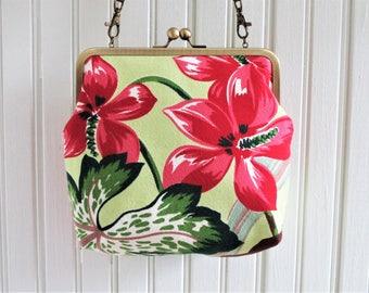 """SALE! Large Scale Pink Woodland Flower Leaves on Lime Ground Vintage Barkcloth Fabric 8"""" Antique Brass Kisslock Frame Crossbody Shoulder Bag"""
