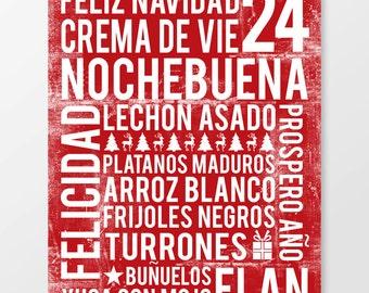Noche Buena Subway Art Print - Noche Buena Poster - Cuba Poster - Kitchen Poster - Kitchen Wall Art - Food Poster - Food Art Print