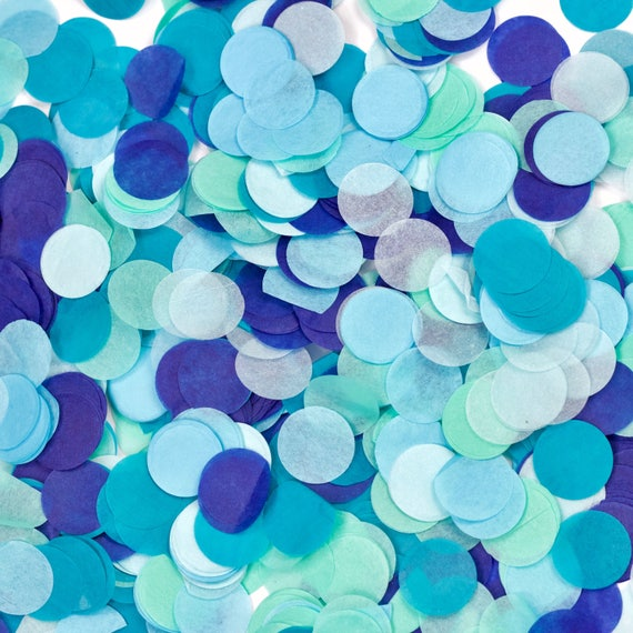 Under The Sea Confetti, Blue Silver Teal Confetti, Shred, Table Decor, Confetti Balloon, First Birthday Boy Baby Shower Nautical Ocean Beach