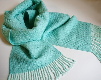 Turquoise handwoven scarf woven shawl boho sequin scarf bride bridal bridesmaid gift unique handmade scarves