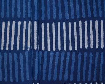Natural Dye Indigo Matchsticks Block Print Cotton Fabric