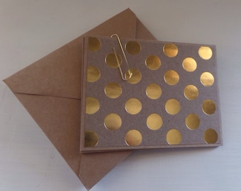 Gold polka dot design blank card set, stationary set