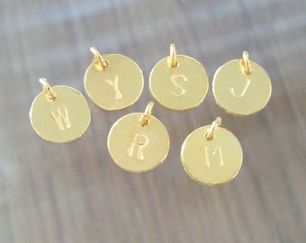 Handmade 24K gold Vermeil Sterling Silver Alphabet 6 mm Disc Charm Pendant,Minimalist Collections, PC-0120