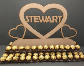 Y24 PERSONALISED Triple Love Heart Ferrero Rocher Display Stand 80x Chocolate Wooden Tree Stand Table Top MDF Wedding Engagement Party Sweet