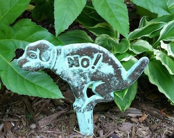 NO Dog Poop Sign - Outdoor Decor, Funny Gag Gift, Garden Decoration, Yard Sign, Cast Iron Sign, Dog Sign, No Dogs Sign, Lawn Ornament
