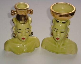 Vintage Africian Nubian Tribal Head Vases / Planters