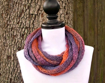 Circle Scarf Infinity Scarf Knit Cowl - Infinity Cowl Scarf in Daybreak Pink Purple Cowl Pink Scarf Womens Accessories - READY TO SHIP