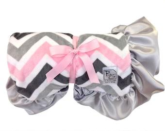 Pink Chevron Stroller Blanket Pink/Gray