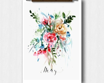 Watercolor Floral,MAY Month, Calendar art, Pregnancy Announcement, Baby shower, Save The date, Perpetual Month Calendar, Wedding keepsake