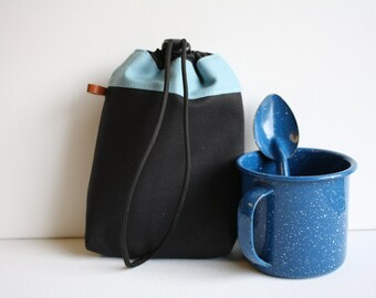 Belt Loop String Pouch  - charcoal + robin egg
