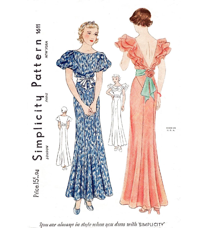1930er Jahren 30er Jahre Abend Kleid / / Vintage Nähen Muster