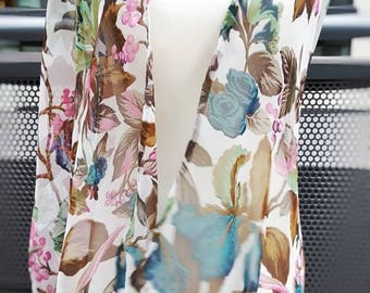 SHARON kimono; chiffon kimono with beautiful bright teal leaves and cool-toned pink flowers