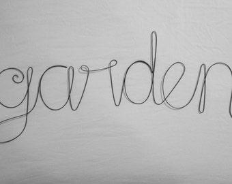GARDEN Wire Word Wall Hanging Art