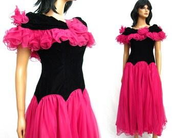80s Prom Dress - Vintage Black Velvet Dark Pink Chiffon Satin Long Formal Gown S FREE US Shipping