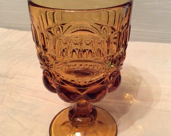 Vintage Amber Glass Goblet / Wine Glass  ~ Amber Drinkware
