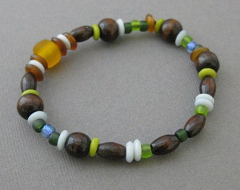 Brown, Blue and Green Boys Stretch Bracelet with Wooden Beads, Large, BB 107
