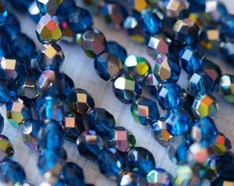 6mm Capri Blue Vitral Firepolished beads - Czech Glass Beads - Bead Soup Beads