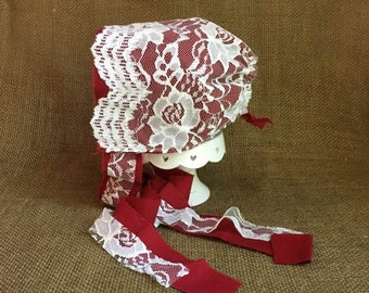 Newborn Bonnet, Sweet Red Linen Covered in Cream Lace Fabric Bonnet, Newborn Photography Prop, Ready To Ship, Baby Girl Christmas Bonnet
