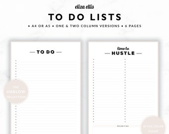 TO DO LISTS / To Do List Printable / 2018 Planner / Printable To Do Lists / To Do List / To Do / The Harlow Planners in Cigar / 415
