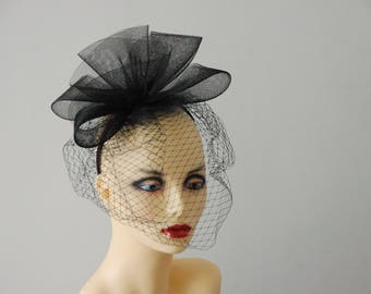 Black Crin bow & merry widow veiled fascinator by Hats2go