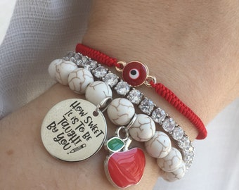 How sweet it is to be taught by you bracelet with apple charm