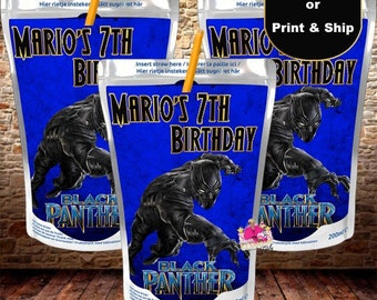 Custom Capri Sun, juice pouch,  juice box, Black Panther party favor, birthday party-DIGITAL FILE ONLY