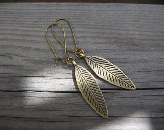 Leaf Earrings - Antiqued Bronze Etched Leaf Earrings, Kidney Earwires, jingsbeadingworld inspired by nature, Gift for her, for Nature Lovers
