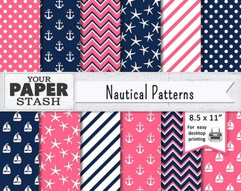 Nautical Digital Paper, Pink & Navy Blue, Printable 8 1/2 x11, Anchor, Sailboat, Chevron, Stripe, Polka Dot Scrapbook Paper, Commercial Use