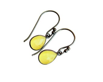 Yellow Mosntone Earrings, Oxidized sterling silver earrings, Drops earrings, Gift for Her