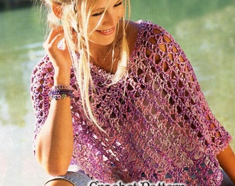 Vintage Crochet for  Girls and Woman New cool Poncho, Wrap Pattern INSTRUCTION only, PDF Files