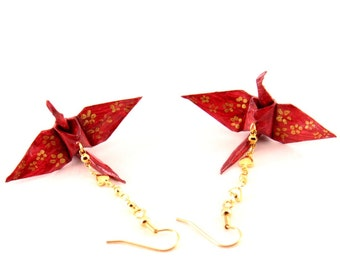 Hearts and Flowers Origami Crane Earrings, Gold Cherry Blossoms on Burgundy