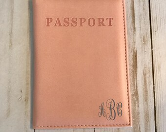 Monogrammed Light Pink Passport Holder, Light Pink Passport cover, monogrammed passport cover, personalized passport case