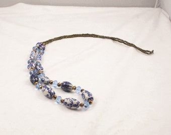 Free shipping,blue China beads long necklace,crystal,vintage,bangle,personalized,wholesale(XL80)
