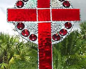 Red Stained Glass Cross Suncatcher,  Christian Cross, Glass Sun Catcher, Cross Suncatcher, Easter Gift, Mother's Day, 9518-RD