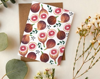 Festive Figs Greeting Card | Watercolor Figs Artwork