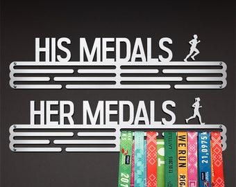 Medal hanger display HIS & HER MEDALS (set of 2) - stainless steel medal holder
