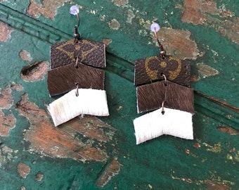 Handmade Louis Vuitton chevron earrings/LV layered earrings/hair on leather Louis Vuitton earrings/lightweight earrings/layered LV earrings