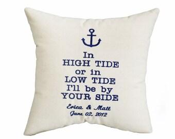 Cuscini di ancoraggio personalizzato, ricamato, regalo di San Valentino, San Valentino cuscino.