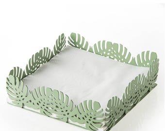 Napkin holder metal Leaves Sage 17X17X5 cm