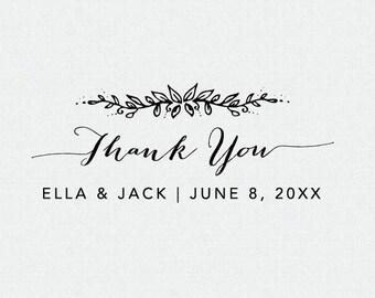 Thank You Stamp, Floral, Wedding Favor Stamp, Thank You Self Inking Stamp, Thank You Rubber Stamp, Thank you Stamp for Weddings (T106)