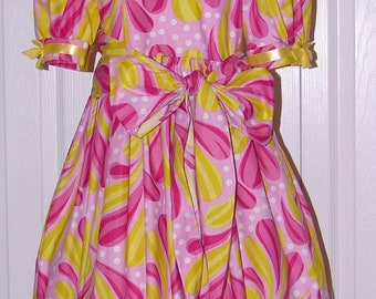 1350 Pink and Yellow Print Dress