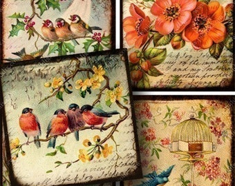 Flora and Fauna collage sheet in 2.5 inch squares -- piddix 719