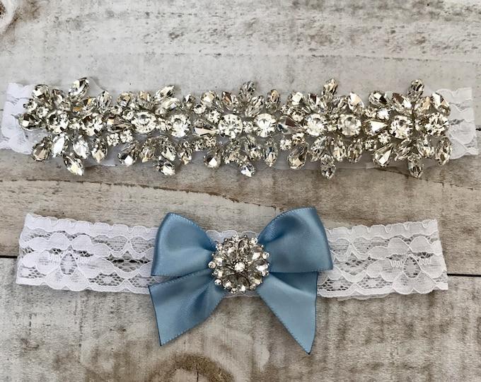 Wedding Garter set, NO SLIP grip Lace Wedding Garter Set, bridal garter set, WHITE CB04S-C29