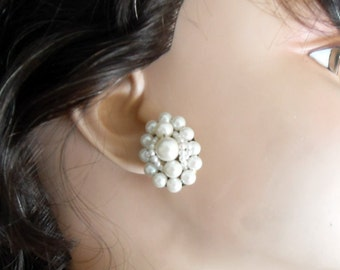 White Pearl Clip On Earrings