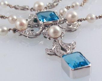 Blue Topaz & Pearl Opera Necklace - in 14K white gold