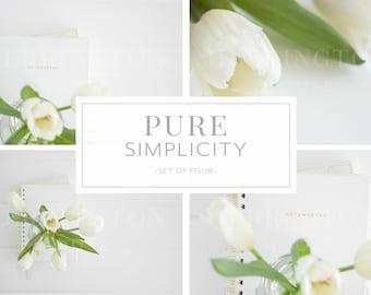 Crisp white stock photography bundle | Business stock image bundle - Tulips stock photo bundle - Notebook stock photos - Flower stock photos