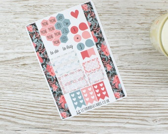 Coral Flower Pocket Weekly Kit; Vinyl Matt; Mini Kit; Pocket TN Kit; WO1P Kit; Planner Stickers; Pocket Filofax; Summer Kit