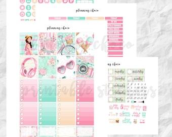 Summer picnic printable planner stickers /EC vertical weekly kit / ECLP / pdf, jpg, cut files / glitter