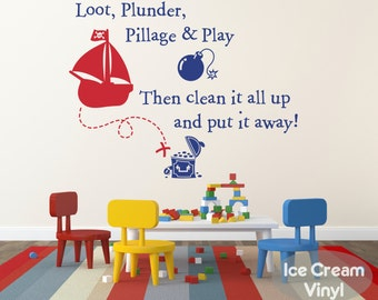 Pirate Wall Decal Loot Plunder Pillage Play Pirate Vinyl Decal for Boys Girls Room Pirate Nursery Playroom Vinyl Childrens Decor