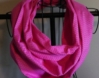 Fabric Infinity Scarf Hot Pink Mini Chevron